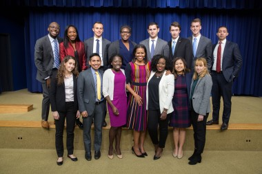 First Lady Michelle Obama joins 2016 White House Fall Interns for a group photo in the Eisenhower Executive Office Building South Court Auditorium, Dec. 5, 2016. (Official White House Photo by Chuck Kennedy) This photograph is provided by THE WHITE HOUSE as a courtesy and may be printed by the subject(s) in the photograph for personal use only. The photograph may not be manipulated in any way and may not otherwise be reproduced, disseminated or broadcast, without the written permission of the White House Photo Office. This photograph may not be used in any commercial or political materials, advertisements, emails, products, promotions that in any way suggests approval or endorsement of the President, the First Family, or the White House.
