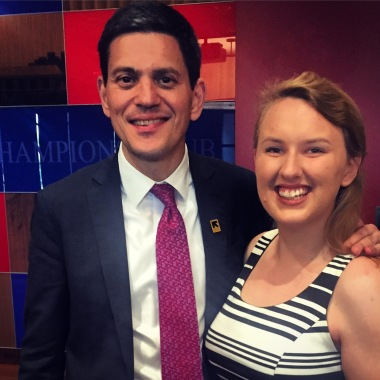 Sarah Whipple '16 with International Rescue Committee CEO (and former Foreign Secretary of the UK!) David Milliband
